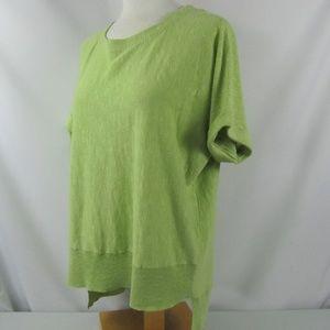 Eileen Fisher Cuff Sleeve Top Green Medium Linen